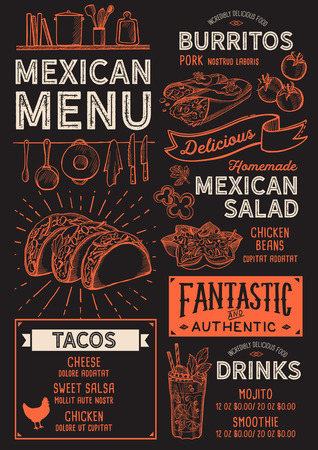Mexican restaurant menu Vector food flyer for bar and cafe. 스톡 콘텐츠 - 96573159