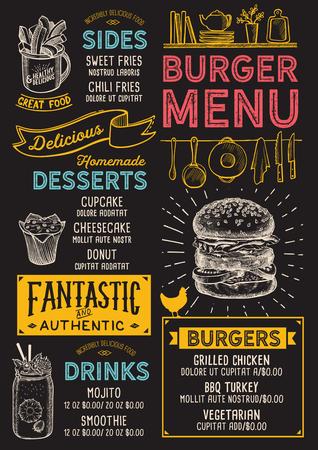 バーガーレストランメニュー。バーやカフェのベクターフードチラシ。ヴィンテージ手描きのイラストを使用したデザインテンプレート。