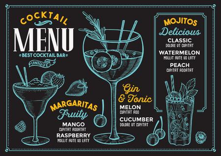 Cocktail bar menu. Vector drinks flyer for restaurant and cafe. Design template with vintage hand-drawn illustrations. Illustration