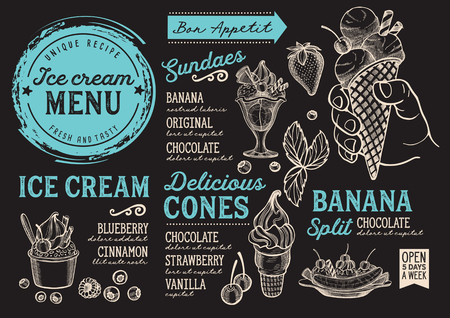 Ice cream restaurant menu Vector dessert food flyer for bar and cafe. Vettoriali
