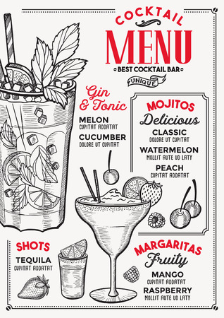 Cocktail bar menu. Vector drinks flyer for restaurant and cafe. Design template with vintage hand-drawn illustrations. 版權商用圖片 - 98613576