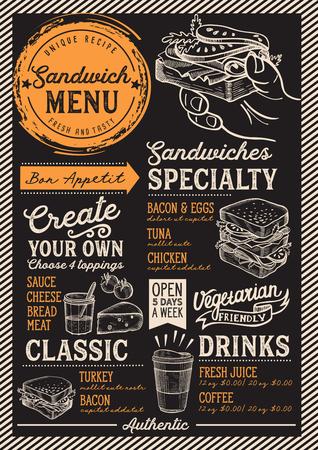 Menu du restaurant sandwich. Flyer de nourriture de vecteur pour bar et café. Modèle de conception avec des illustrations vintage dessinées à la main. Banque d'images - 98617945