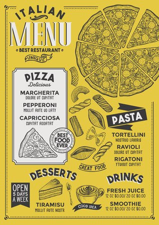 Pizza restaurant menu. Vector food flyer for bar and cafe. Design template with vintage hand-drawn illustrations. 向量圖像