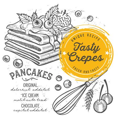 Pannenkoeken restaurant menu. Vector pannenkoek voedsel flyer voor bar en café. Ontwerpsjabloon met vintage handgetekende illustraties.