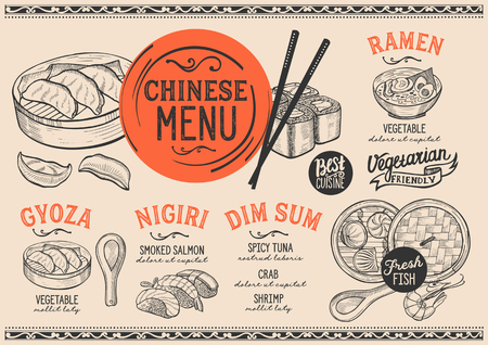 Japanese sushi restaurant menu. Vector chinese dim sum food flyer. Design template with vintage hand-drawn illustrations. Reklamní fotografie - 98613665