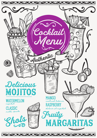 Cocktail bar menu. Vector drinks flyer for restaurant and cafe. Design template with vintage hand-drawn illustrations.  イラスト・ベクター素材