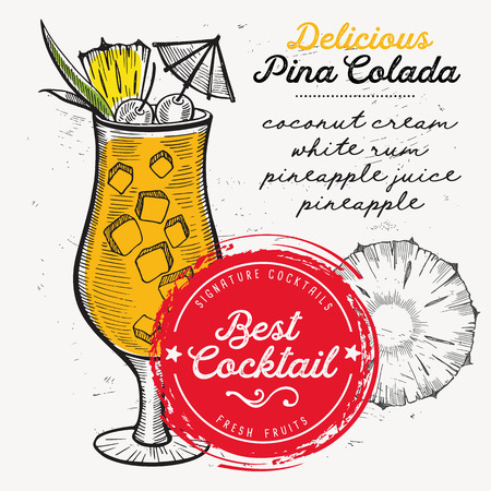 Cocktail pina colada for bar menu. Vector drink flyer for restaurant and cafe. Design poster with vintage hand-drawn illustrations. Illustration