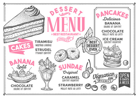 Dessert restaurant menu. Vector food flyer for bar and cafe. Design template with vintage hand-drawn illustrations. Illusztráció