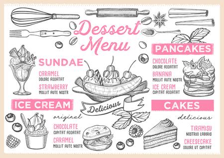 Dessert restaurant menu. Vector food flyer for bar and cafe. Design template with vintage hand-drawn illustrations. Illustration