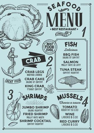 Seafood restaurant menu. Vector food flyer for bar and cafe. Design template with vintage hand-drawn illustrations. 向量圖像