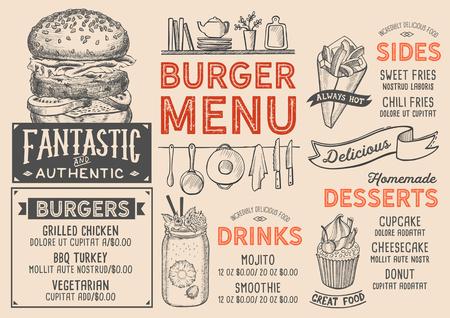 バーガーレストランメニュー。バーやカフェのためのベクターフードチラシ。ヴィンテージ手描きイラストのデザインテンプレート。