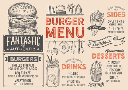 Menú de restaurante de hamburguesas. Folleto de comida de vector para bar y cafetería. Plantilla de diseño con ilustraciones vintage dibujadas a mano. Foto de archivo - 98613679