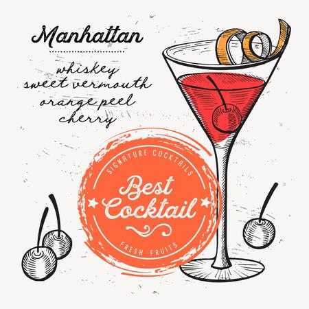Cocktail manhattan for bar menu. Vector drink flyer for restaurant and cafe. Design poster with vintage hand-drawn illustrations.  イラスト・ベクター素材