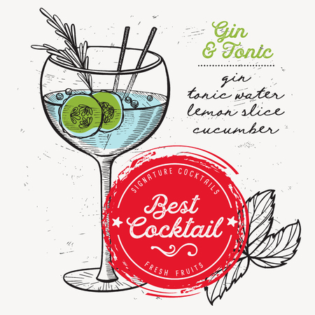 Cocktail gin and tonic for bar menu. Vector drink flyer for restaurant and cafe. Design poster with vintage hand-drawn illustrations.