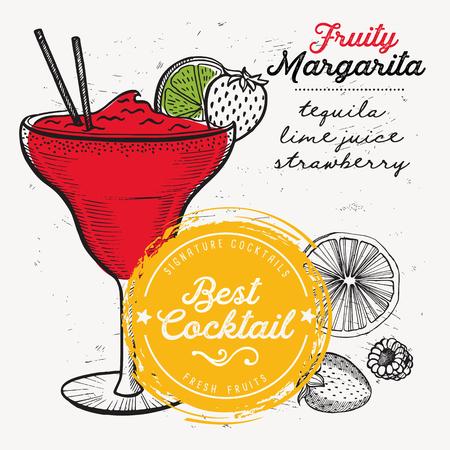 Cocktail margarita for bar menu. Vector drink flyer for restaurant and cafe. Design poster with vintage hand-drawn illustrations.  イラスト・ベクター素材