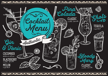 Cocktail bar menu. Vector drinks flyer for restaurant and cafe. Design template with vintage hand-drawn illustrations. Vettoriali