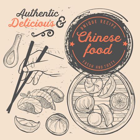 Menu du restaurant de sushis japonais. Flyer de nourriture dim sum chinois. Modèle de conception avec des illustrations vintage dessinées à la main.