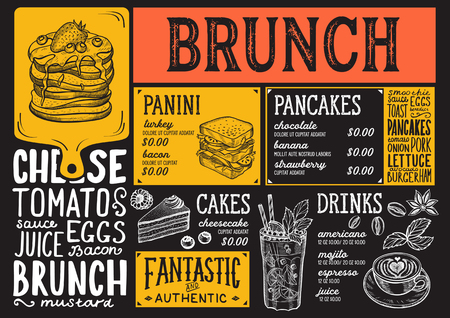 Brunch restaurant menu. Vector food flyer for bar and cafe. Design template with vintage hand-drawn illustrations.  イラスト・ベクター素材