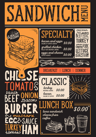 Sandwich restaurant menu. Vector food flyer for bar and cafe. Design template with vintage hand-drawn illustrations.
