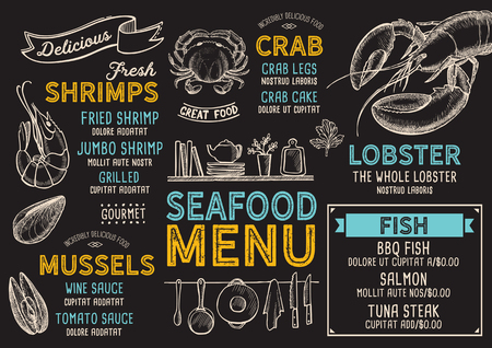 Seafood restaurant menu. Vector food flyer for bar and cafe. Design template with vintage hand-drawn illustrations.  イラスト・ベクター素材