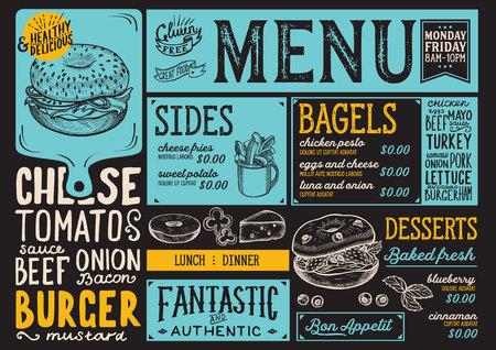Bagels restaurant menu. Vector sandwich food flyer for bar and cafe. Design template with vintage hand-drawn illustrations. Çizim