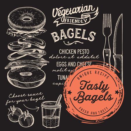ベーグルレストランメニュー。バーやカフェのためのベクターサンドイッチフードチラシ。ヴィンテージ手描きのイラストを使用したデザインテン  イラスト・ベクター素材