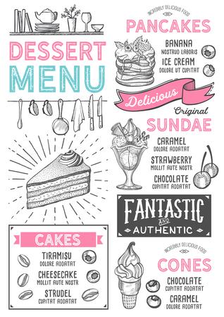Dessert restaurant menu. Vector food flyer for bar and cafe. Design template with vintage hand-drawn illustrations. Vettoriali