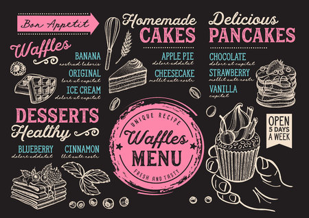 Waffles and crepes restaurant menu. Vector pancake food flyer for bar and cafe. Design template with vintage hand-drawn illustrations.