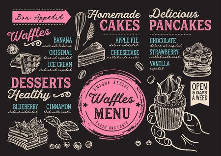 Wafels en crêpes restaurantmenu. Vector pannenkoek voedsel flyer voor bar en café. Ontwerpsjabloon met vintage handgetekende illustraties.