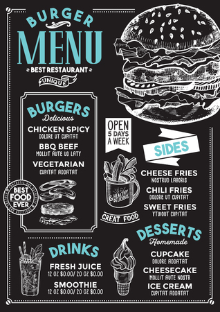 Burger restaurant menu. Vector food flyer for bar and cafe. Design template with vintage hand-drawn illustrations. Vettoriali