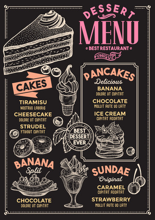 Dessert restaurant menu. Vector food flyer for bar and cafe. Design template with vintage hand-drawn illustrations. Çizim