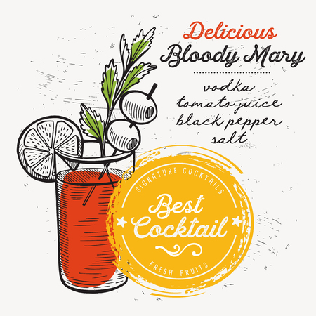 Cocktail bloody mary for bar menu. Vector drink flyer for restaurant and cafe. Design poster with vintage hand-drawn illustrations.
