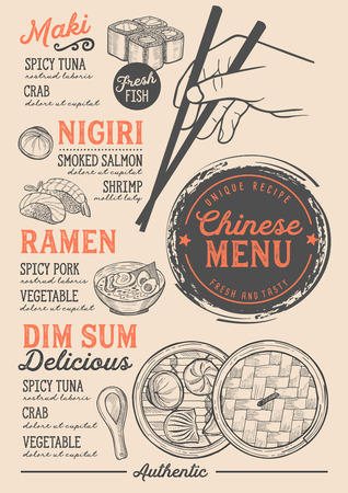 restaurant japonais restaurant sushi vecteur chinois dim sum chinois conception modèle de dessin animé avec des spécialités dessinés à la main