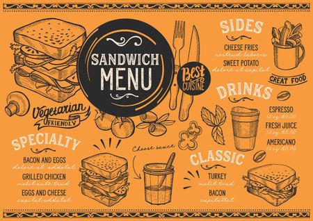Restaurant restaurant dessin flyer vecteur de nourriture pour bar et le modèle de conception. conception avec des formules dessinés à la main vintage Banque d'images - 99144459
