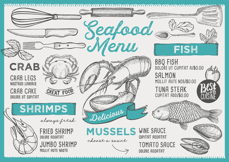 Seafood restaurant menu. Vector food flyer for bar and cafe. Design template with vintage hand-drawn illustrations. Vettoriali
