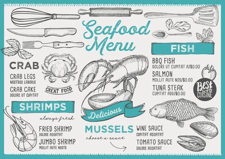 Seafood restaurant menu. Vector food flyer for bar and cafe. Design template with vintage hand-drawn illustrations. Illustration