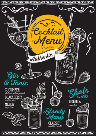 Cocktail bar menu. Vector drinks flyer for restaurant and cafe. Design template with vintage hand-drawn illustrations. Çizim