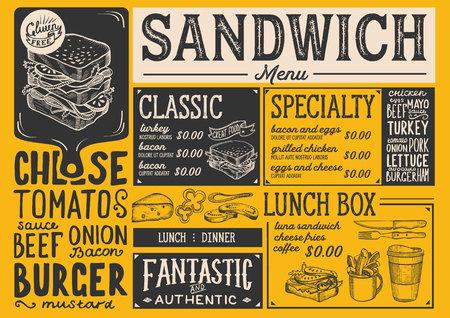 Restaurant restaurant dessin flyer vecteur de nourriture pour bar et le modèle de conception. conception avec des formules dessinés à la main vintage Banque d'images - 99144496