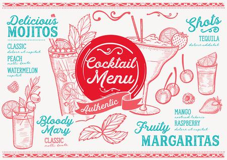 カクテルバーメニュー。レストランやカフェのベクタードリンクチラシ。ヴィンテージ手描きのイラストを使用したデザインテンプレート。