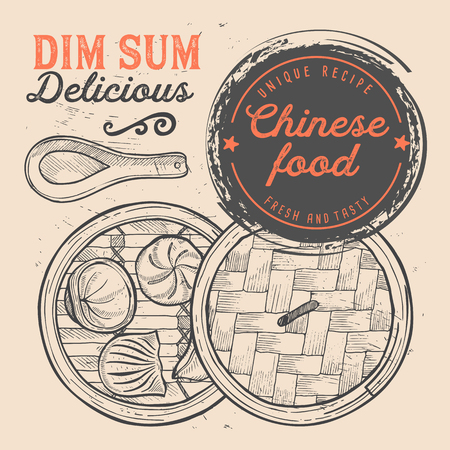 Chinese dim sum food flyer. Design template with vintage hand-drawn illustrations.