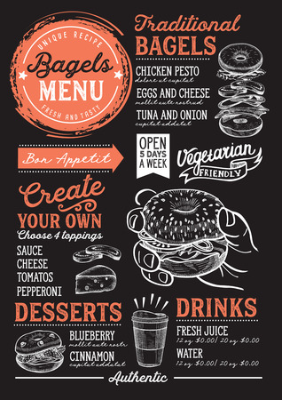 Bagels restaurant menu. Vector sandwich food flyer for bar and cafe. Design template with vintage hand-drawn illustrations. Illustration