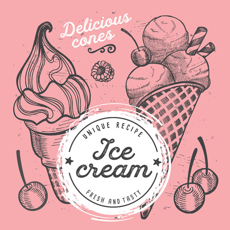 Ice cream restaurant menu. Vector dessert food flyer for bar and cafe. Design template with vintage hand-drawn illustrations. Imagens - 99144506