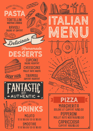 Pizza restaurant menu. Vector food flyer for bar and cafe. Design template with vintage hand-drawn illustrations. Ilustração