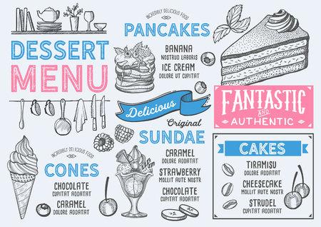Dessert restaurant menu. Vector food flyer for bar and cafe. Design template with vintage hand-drawn illustrations. Banco de Imagens - 99144558