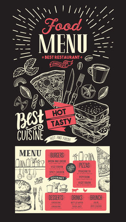 Food menu for restaurant. template on chalkboard background. Design flyer with vintage hand-drawn illustrations.