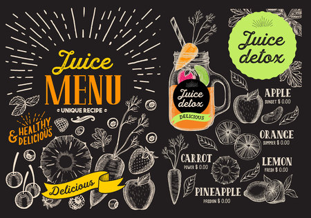 Juice smoothie menu for restaurant and cafe. drink flyer. Design template with vintage fruit hand-drawn illustrations. Illusztráció