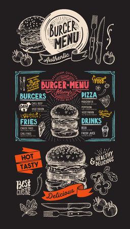 Food  menu for burger restaurant. food flyer for bar and cafe. Design template with vintage hand-drawn illustrations. 向量圖像