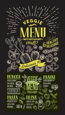 Menu vegetariano per ristorante. volantino di cibo per bar e caffetteria. Modello di progettazione su sfondo lavagna con illustrazioni grafiche disegnate a mano di cibo. Vettoriali