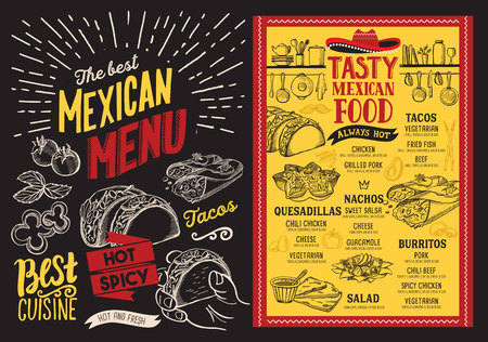 Mexican restaurant menu on blackboard background. food flyer for bar and cafe. Design template with vintage hand-drawn illustrations.  イラスト・ベクター素材