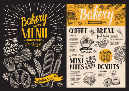 Bakery dessert menu for restaurant on blackboard background. Design template with food hand-drawn graphic illustrations. food flyer for bar and cafe.